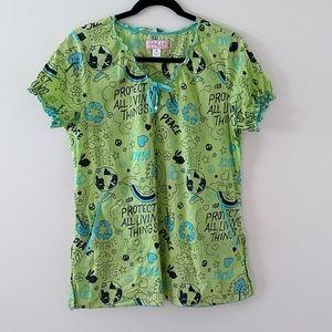 3 for $30 Koi by Kathy Peterson green scrub top size M